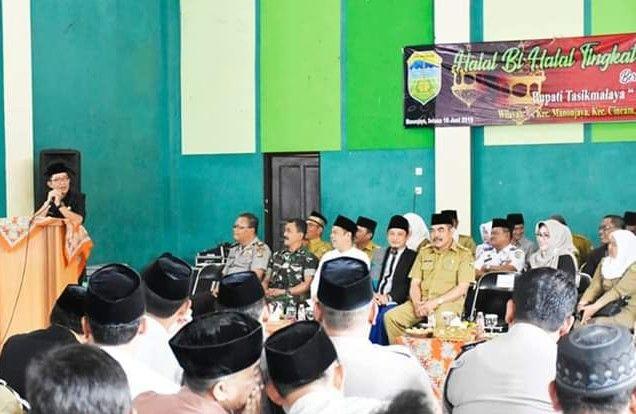 Bupati H. Ade, Kembali Tegaskan Program Tasik Caang Baranang Pada Kunjungan Halalbihalal Pasca Idul Fitri